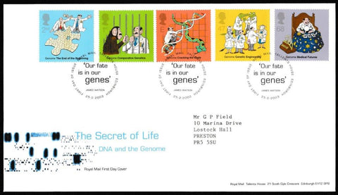 Great Britain First Day Cover, 'Secret of Life. DNA and the Genome', Royal Mail, Royal Mail, Tallents House, Edinburgh, 25-Feb-2003