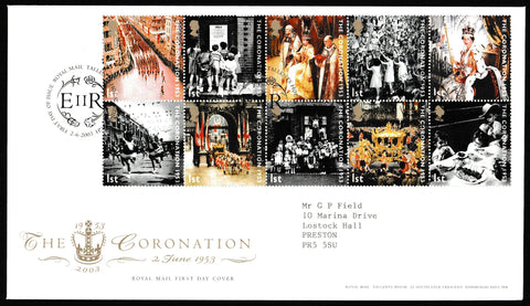 Great Britain First Day Cover, '50th Anniversary of the Coronation', Royal Mail, Royal Mail, Tallents House, Edinburgh, 02-Feb-2003