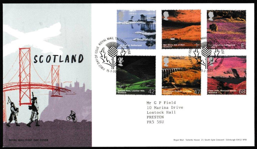 Great Britain First Day Cover, 'Scotland', Royal Mail, Royal Mail, Tallents House, Edinburgh, 15-Jul-2003