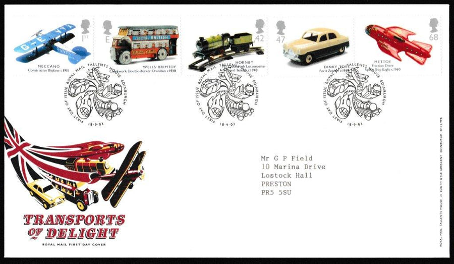 Great Britain First Day Cover, 'Transports of Delight', Royal Mail, Royal Mail, Tallents House, Edinburgh, 18-Sep-2003