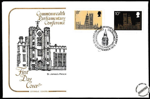 Great Britain First Day Cover, '19th Commonwealth Parliamentary Conference', Cotswold, Houses of Parliament, London SW1, 12-Sep-1973