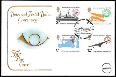 Great Britain First Day Cover, 'Centenary Universal Postal Union', Cotswold, Imperial Airways Flying Boat, Southampton, 12-Jun-1974