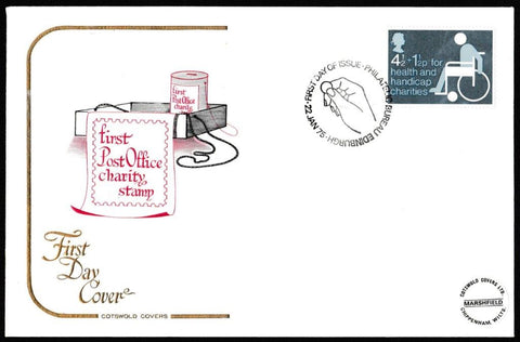 Great Britain First Day Cover, 'Charity Stamp', Cotswold, Philatelic Bureau, Edinburgh, 22-Jan-1975