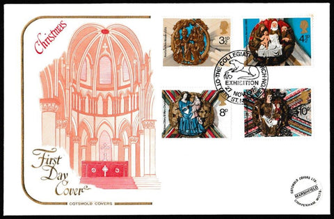 Great Britain First Day Cover, 'Christmas 1974', Cotswold, The Collegiate Church Exhibition, Otter St. Mary, 27-Nov-1974