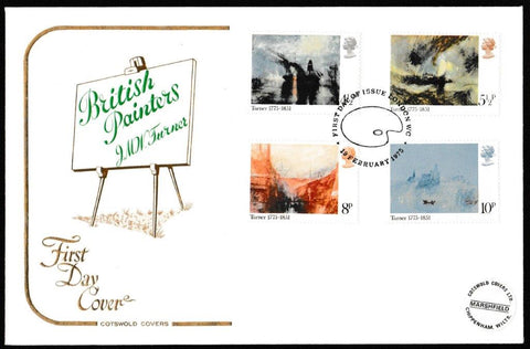Great Britain First Day Cover, 'Birth Bicentenary of  J.M.W. Turner', Cotswold, London WC, 19-Feb-1975