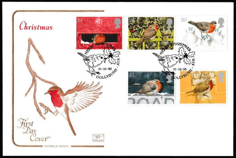 Great Britain First Day Cover, 'Christmas 1995', Cotswold, Merry Christmas, Hollybush, Ayr, 30-Oct-1995