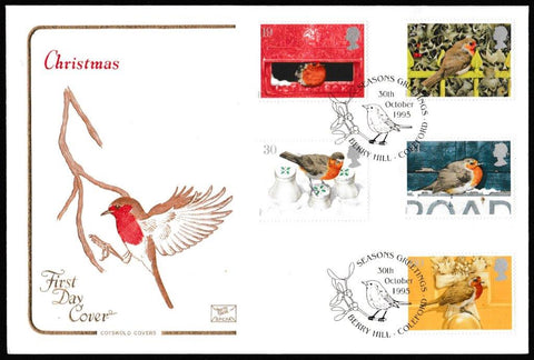 Great Britain First Day Cover, 'Christmas 1995', Cotswold, Seasons Greetings, Berry Hill, Coleford, 30-Oct-1995