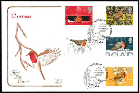 Great Britain First Day Cover, 'Christmas 1995', Cotswold, Christmas Greetings, Iveybridge, Devon, 30-Oct-1995