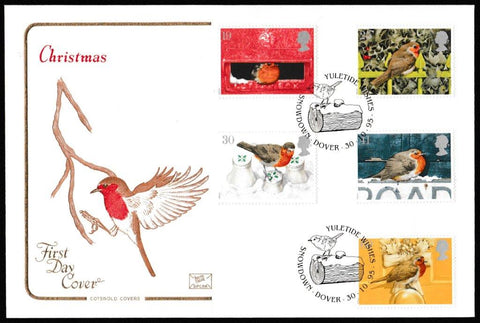 Great Britain First Day Cover, 'Christmas 1995', Cotswold, Yuletide Wishes, Snowdown, Dover, 30-Oct-1995