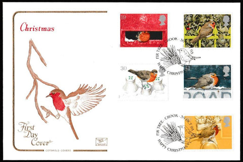 Great Britain First Day Cover, 'Christmas 1995', Cotswold, Happy Christmas, Fir Tree, Crook, 30-Oct-1995