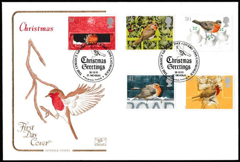 Great Britain First Day Cover, 'Christmas 1995', Cotswold, Christmas Greetings, St. Nicholas, Harleston, Norfolk, 30-Oct-1995