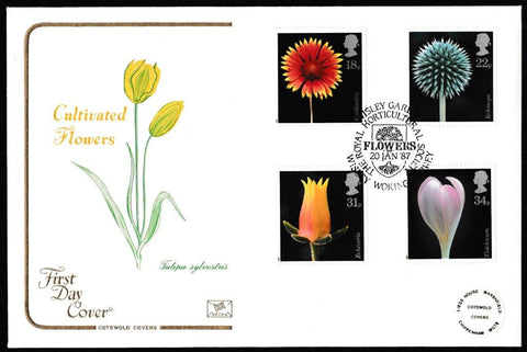 Great Britain First Day Cover, 'Flowers', Cotswold, Wisley Gardens, Wisley, Woking, 20-Jan-1987