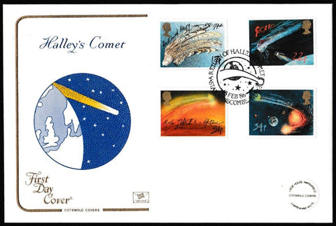 Great Britain First Day Cover, 'Halley's Comet', Cotswold, A Return of Halleys Comet, Star Winsombe, Avon, 18-Feb-1986