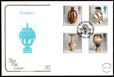 Great Britain First Day Cover, 'British Studio Pottery', Cotswold, St. Ives, Cornwall, 13-Oct-1987