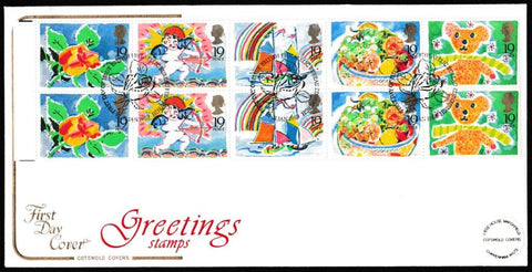 Great Britain First Day Cover, 'Greetings Stamps', Cotswold, Philatelic Bureau, Edinburgh, 31-Jan-1989