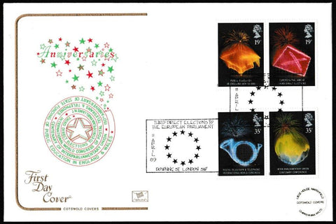 Great Britain First Day Cover, 'Anniversaries', Cotswold, Third Direct Elections, Downing St, London, 11-Apr-1989