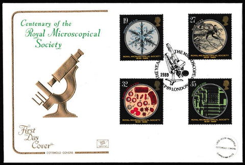 Great Britain First Day Cover, '150th Anniversary Royal Microscopical Society', Cotswold, The Year of the Microscope, London, SW7, 05-Sep-1989