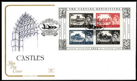Great Britain First Day Cover - Mini Sheet, 'The Castle Definitives - Mini Sheet', Cotswold, Castles High Values, Caernarfon, 22-Mar-2005