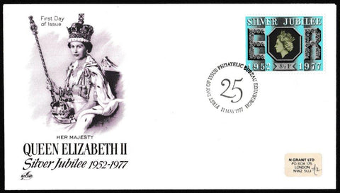Great Britain First Day Cover, 'Queens Silver Jubilee', Artcraft, Philatelic Bureau, Edinburgh, 11-May-1977