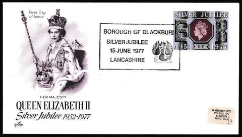 Great Britain First Day Cover, 'Queens Silver Jubilee', Artcraft, Borough of Blackburn, Lancashire, 15-Jun-1977
