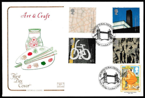 Great Britain First Day Cover, 'Art and Craft', Cotswold, Architectural Excellence, Tower Bridge, London, 02-Feb-2000