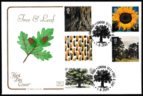 Great Britain First Day Cover, 'Tree and Leaf', Cotswold, Leafy Oak Road, London, SE12, 01-Aug-2000