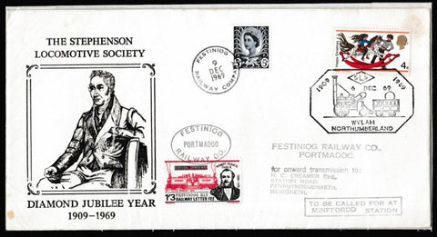 Great Britain Commemorative Cover, 'The Stephenson Locomotive Diamond Jubilee Year', Festiniog Railway, SLS, Wylam, Northumberland, 06-Dec-1969