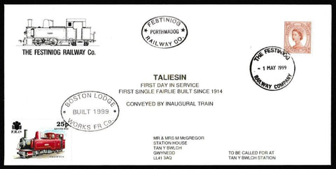 Great Britain Commemorative Cover, 'Taliesin First Day in Service', Festiniog Railway, Festiniog Railway Company, 01-May-1999