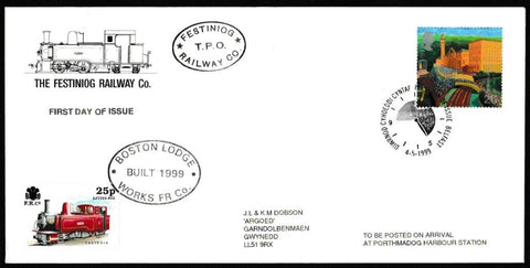 Great Britain First Day Cover, 'Workers Tale', Festiniog Railway, Belfast, 04-May-1999