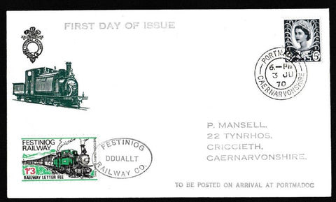 Great Britain First Day Cover, 'Literary Anniversaries', Festiniog Railway, Portmadog, 03-Jun-1970