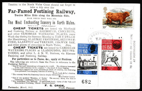 Great Britain Commemorative Cover, 'Far-Famed Festiniog Railway', Festiniog Railway, Festiniog Railway Company, 06-Mar-1984