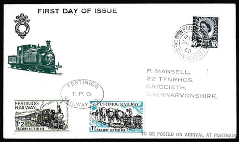 Great Britain Commemorative Cover, 'Festiniog Railway Company', Festiniog Railway, Portmadoc, 28-May-1969