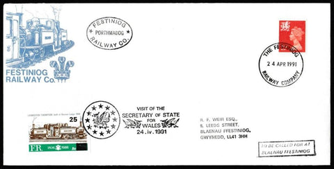 Great Britain Commemorative Cover, 'Visit of the Secretary of State for Wales', Festiniog Railway, Festiniog Railway Company, 24-Apr-1991