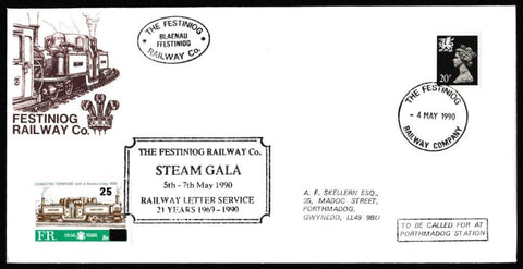 Great Britain Commemorative Cover, 'Festiniong Railway Co Steam Gala ', Festiniog Railway, Festiniog Railway Company, 04-May-1990