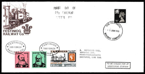 Great Britain Commemorative Cover, 'First Day of the 25p Railway Letter Fee', Festiniog Railway, Festiniog Railway Company, 01-Jan-1990