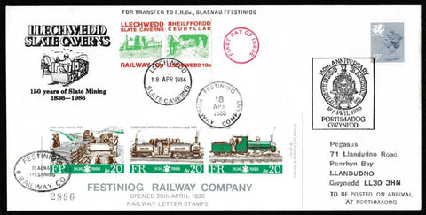 Great Britain Commemorative Cover, '150 Years of Slate Mining Llechwedd Slate Caverns', Festiniog Railway, 150th Anniversary Festiniog Railway, 18-Apr-1986