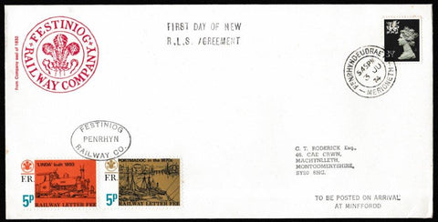 Great Britain Commemorative Cover, 'First Day of New Railway Letter Service Agreement', Festiniog Railway, Penrhyndeudraeth, 03-Jul-1974