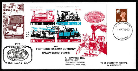 Great Britain Commemorative Cover, 'The Festiniog Hunslet Hundred', Festiniog Railway, Caernarfon, 01-May-1993
