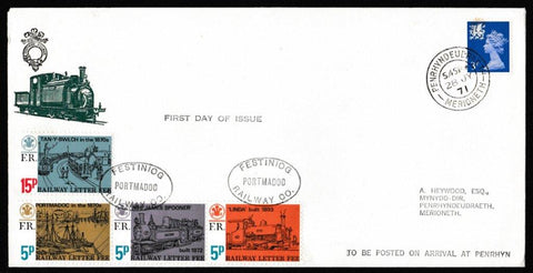 Great Britain Commemorative Cover, 'Festiniog Railway Company', Festiniog Railway, Festiniog Railway Company, 28-Jul-1971