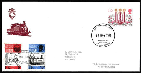 Great Britain First Day Cover, 'Christmas 1980', Festiniog Railway, Caernarfon, 19-Nov-1980