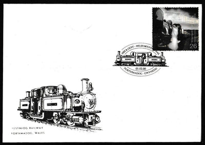 Great Britain First Day Cover, 'Fire and Light', Festiniog Railway, Porthmadog, 01-Feb-2000