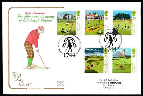 Great Britain First Day Cover, 'Golf', Cotswold, Muirfield, Gullane, 05-Jul-1994