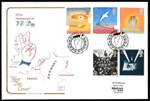 Great Britain First Day Cover, 'Peace and Freedom', Cotswold, 50th Anniversary Victory in Europe, Whitehall, SW1, 02-May-1995