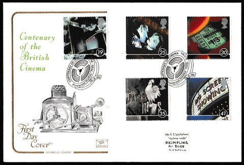 Great Britain First Day Cover, '100 Years of the Cinema', Cotswold, Pinewood Studios, Iver, Bucks, 16-Apr-1996