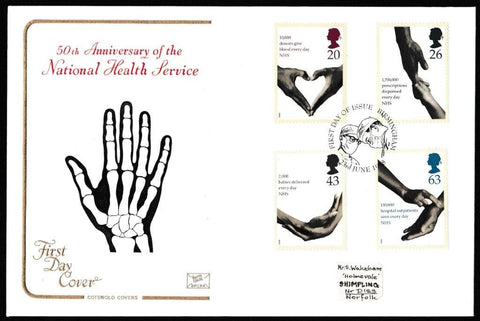 Great Britain First Day Cover, 'National Health Service', Cotswold, Birmingham, 23-Jun-1998