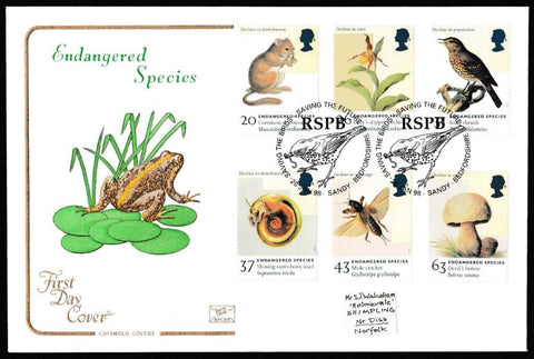 Great Britain First Day Cover, 'Endangered Species', Cotswold, RSPB, Saving the Future, Sandy, Bedfordshire, 20-Jan-1998