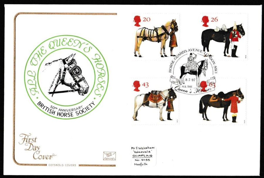 Great Britain First Day Cover, 'All the Queens Horses', Cotswold, Horse Guards Avenue, London, SW1, 08-Jul-1997