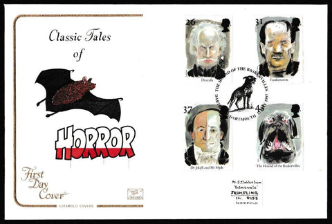 Great Britain First Day Cover, 'Tales of Horror', Cotswold, The Hound of the Baskevilles, Dartmoor, Dartmouth, 13-May-1997