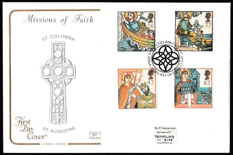 Great Britain First Day Cover, 'Missions of Faith', Cotswold, Saint Columba, Iona Abbey, Isle of Iona, 11-Mar-1997