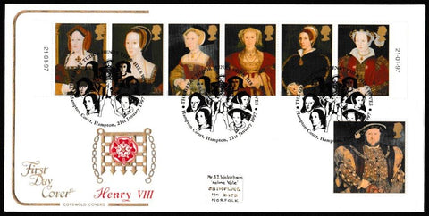 Great Britain First Day Cover, 'The Great Tudor', Cotswold, The Great Tudor Henry VIII and his Wives, Hampton Court, Hampton, 21-Jan-1997
